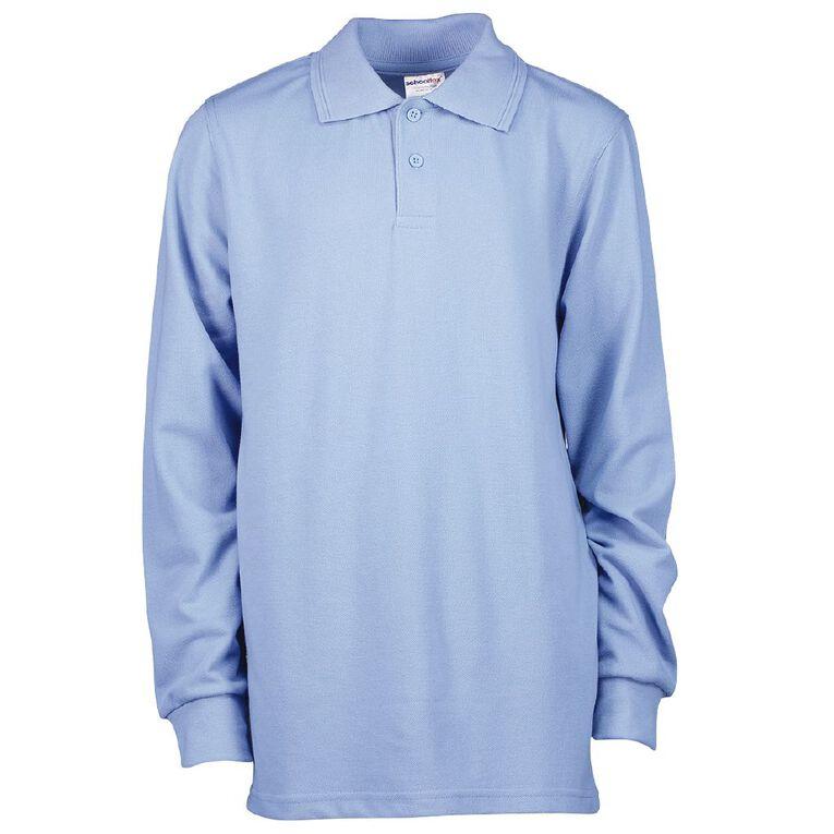 Schooltex Kids' Long Sleeve Polo, Sky Blue, hi-res