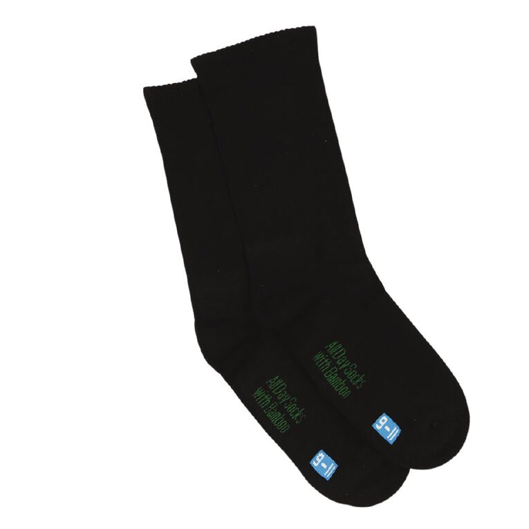 Underworks Women's All Day Bamboo Socks 2 Pack, Black, hi-res