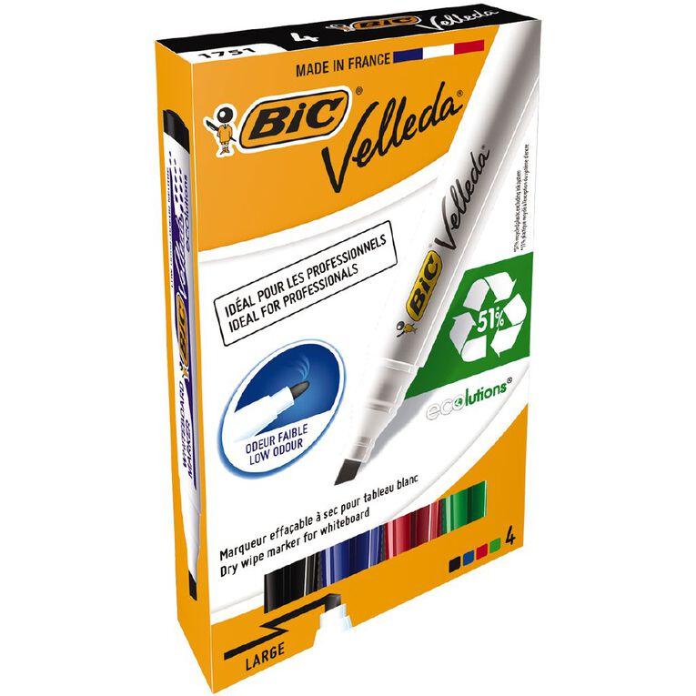 Bic Velleda Whiteboard Marker Chisel Tip Assorted 4 Pack, , hi-res