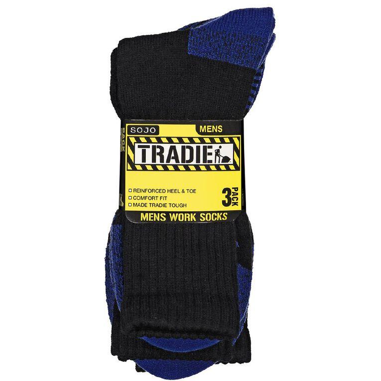 Tradie Men's Work Socks 3 Pack, Black/Blue, hi-res image number null
