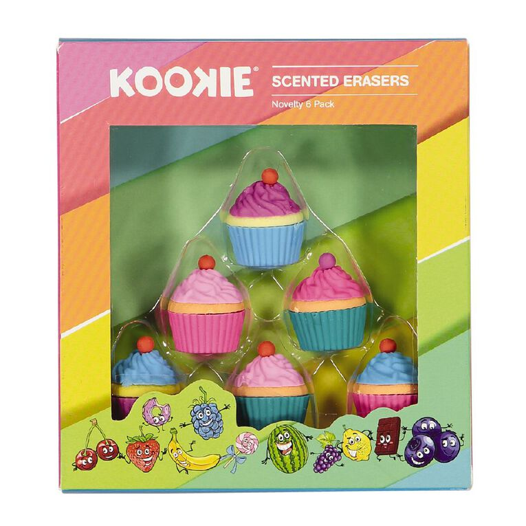 Kookie Novelty Eraser Set Scented 6 Pack Cupcakes Multi-Coloured, , hi-res