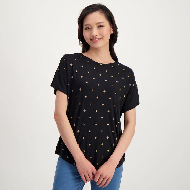 H&H Women's Drop Shoulder Tee, Black/Gold, hi-res image number null