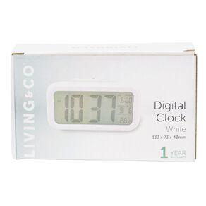 Living & Co Digital Alarm Clock Plastic White 13.3 x 7.3cm