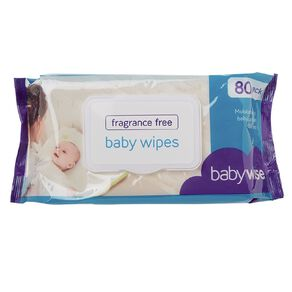 Babywise Fragrance Free Wipes 80 Pack