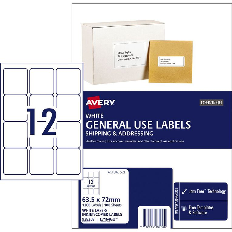 Avery General Use Labels White 1200 Labels, , hi-res