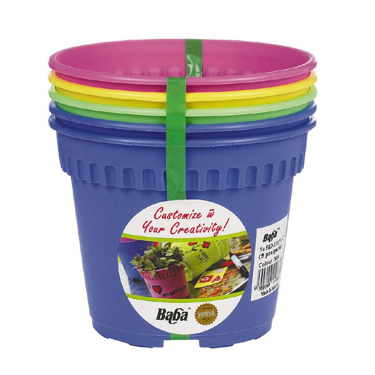 Baba Plastic Coloured Pot 5 Pack, , hi-res