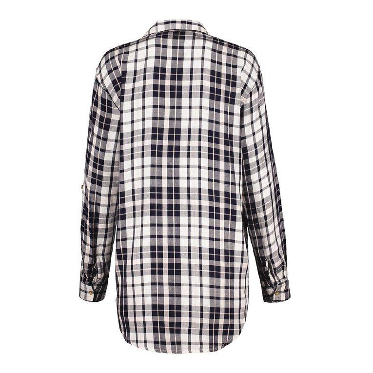H&H Women's Long Sleeve Check Shirt, White/Navy, hi-res