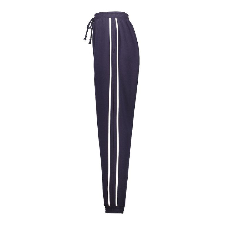 H&H Women's Striped Trackpants, Navy, hi-res