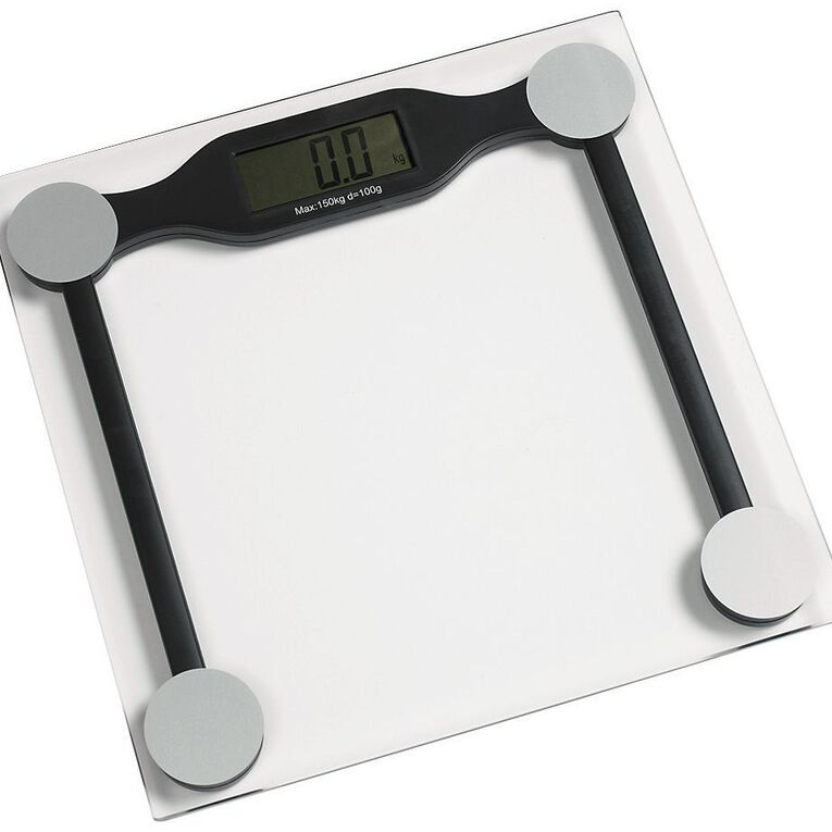 Living & Co Bathroom Scale Digital Square Glass Clear 28cm, Clear, hi-res