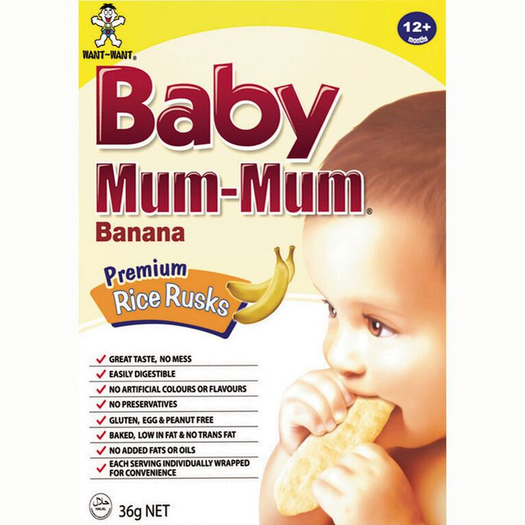 Baby Mum-mum Rice Rusks - Banana Flavour 36g, , hi-res