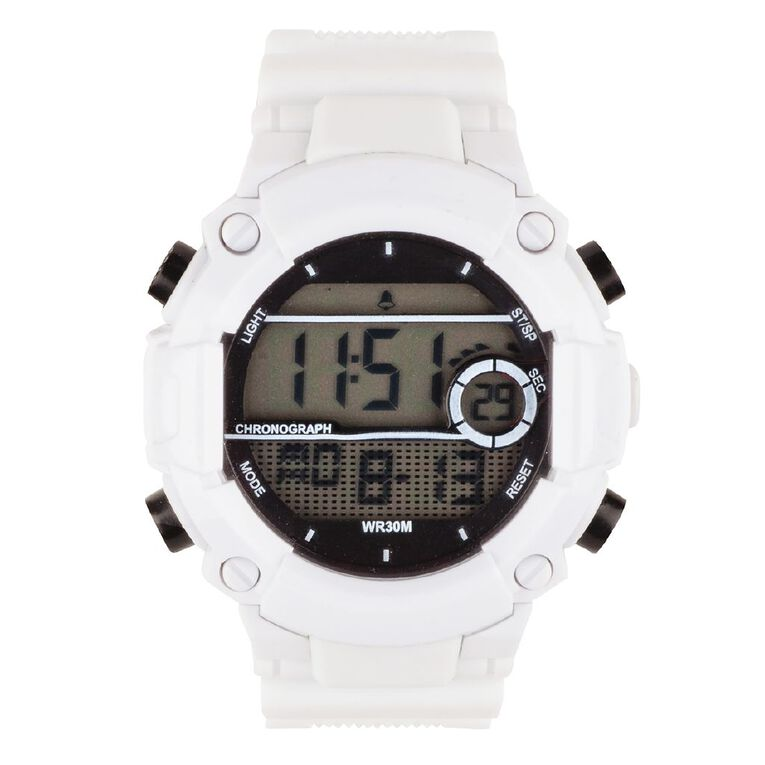 Active Intent Sports Digital Watch White, , hi-res