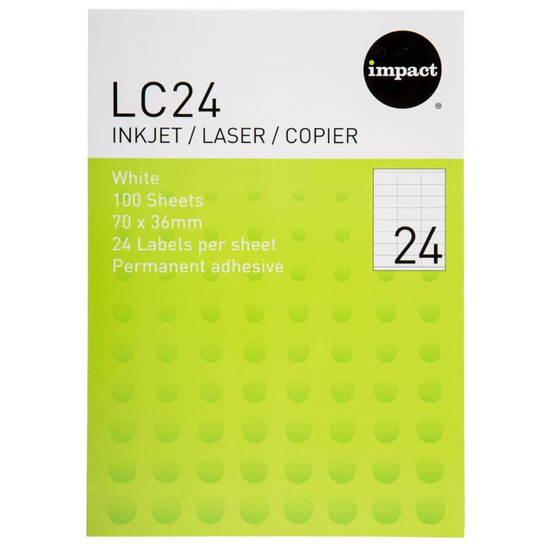 Impact Labels 100 Sheets A4/24 White, , hi-res