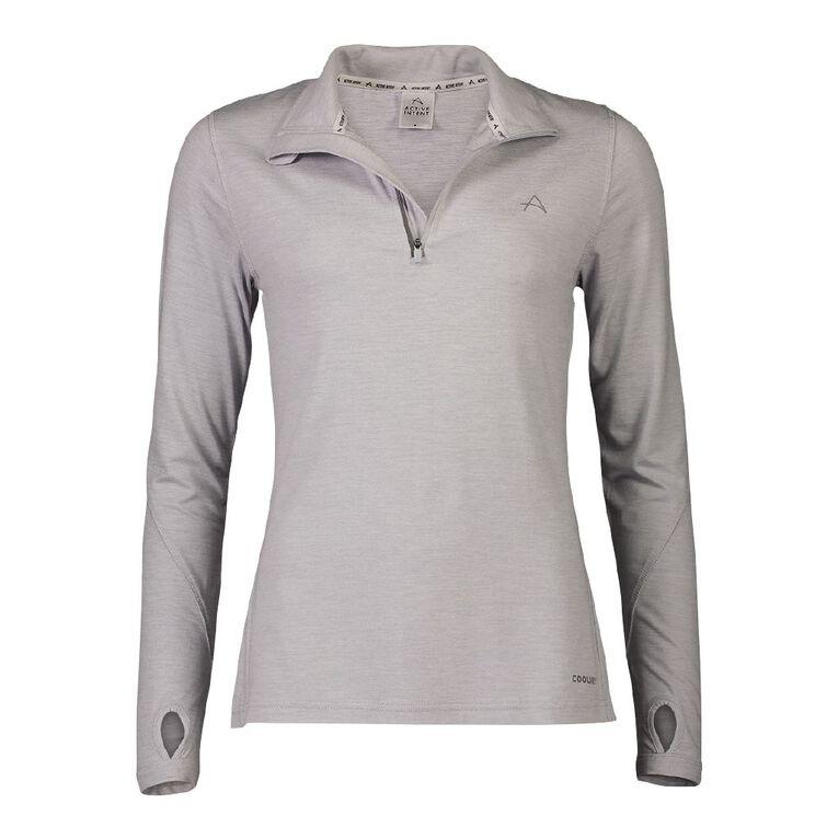 Active Intent Women's Long Sleeve Quarter Zip Light Layer Sweatshirt, Grey Light, hi-res