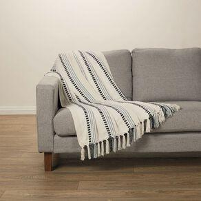 Living & Co Chenille Stripe Throw Arona Blue 127cm x 152cm