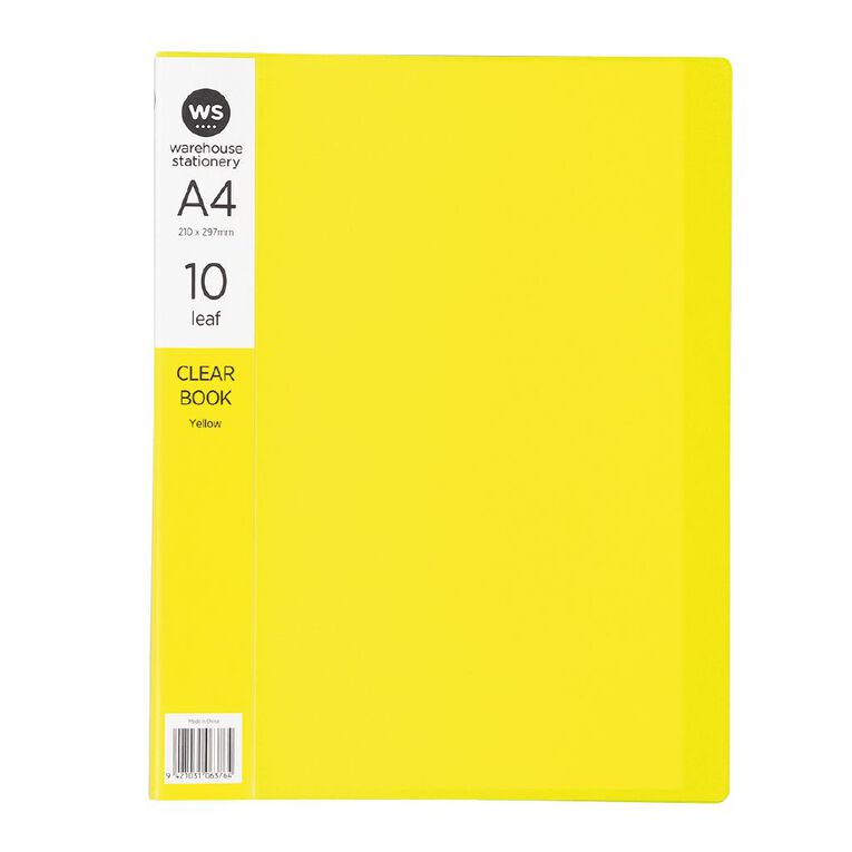 WS Clear Book 10 Leaf Yellow A4, , hi-res
