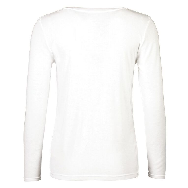 H&H Women's Polyester Viscose Long Sleeve Thermal, White, hi-res