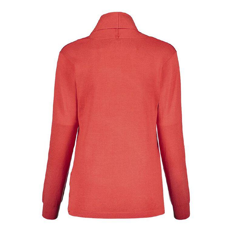 Pickaberry Women's Button Thru Cardigan, Red Mid, hi-res