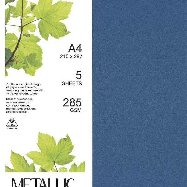 Direct Paper Metallic Board 285gsm 5 Pack Sapphire A4, , hi-res