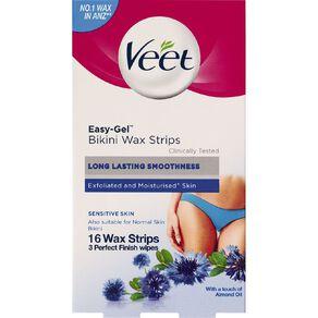 Veet Easy-Gel Bikini Wax Strips Sensitive 16 Pack