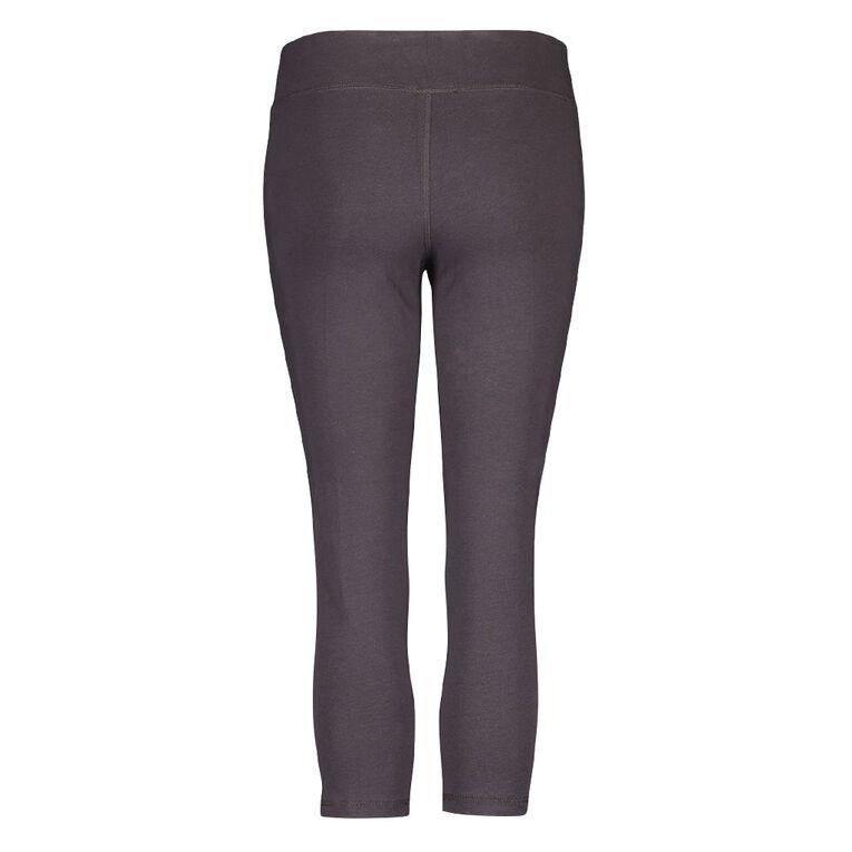 Active Intent Women's Cotton Elastane Crop Leggings, Grey Dark, hi-res