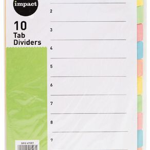 WS Dividers Cardboard 10 Tab A4