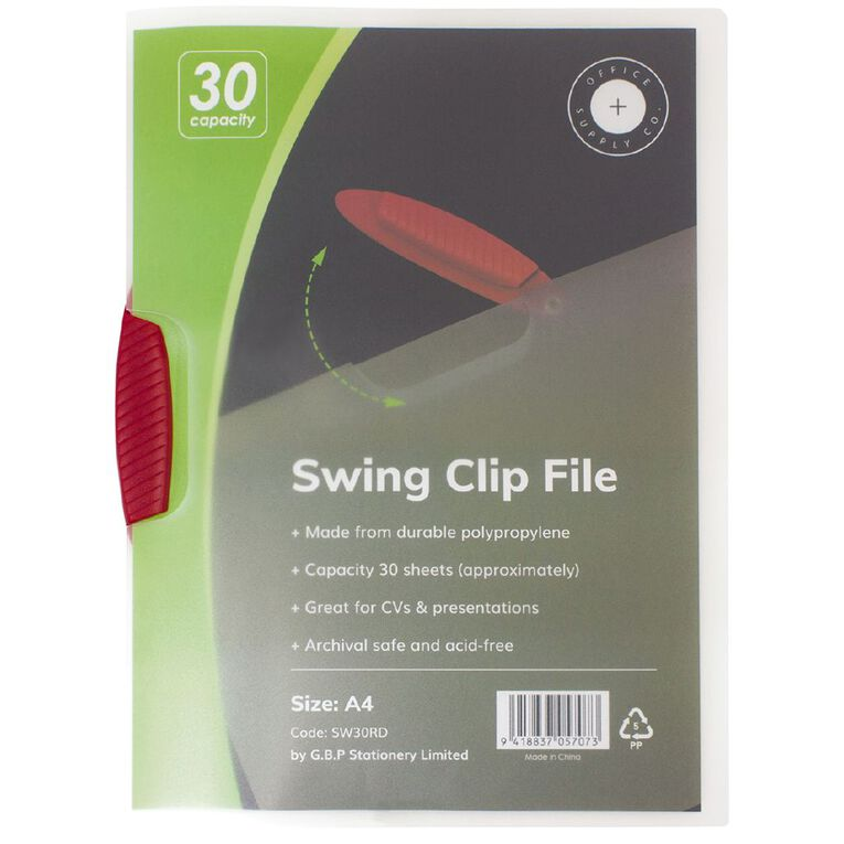 Office Supply Co Swingclip 1-30 Sheets Red A4, , hi-res