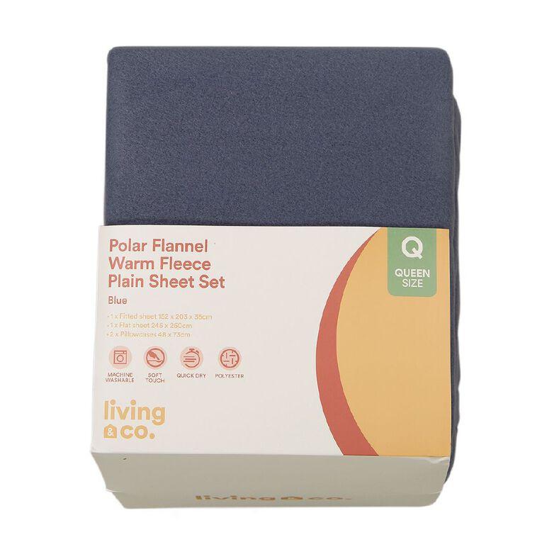 Living & Co Sheet Set Polar Flannel Plain Dye Winter Sky Blue Double, Blue, hi-res