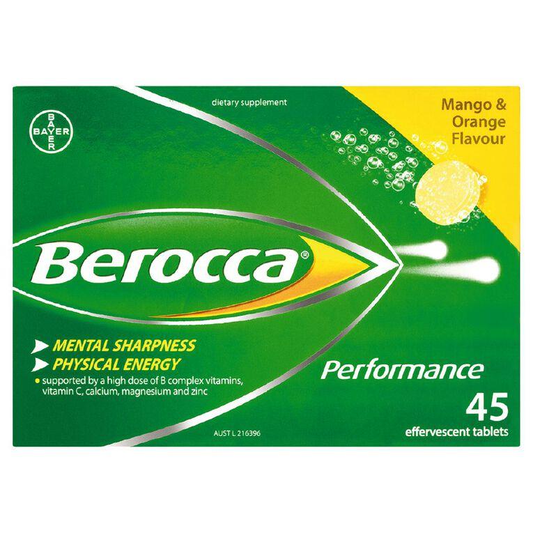 Berocca Performance Effervescent Tablets Mango Orange 45s, , hi-res
