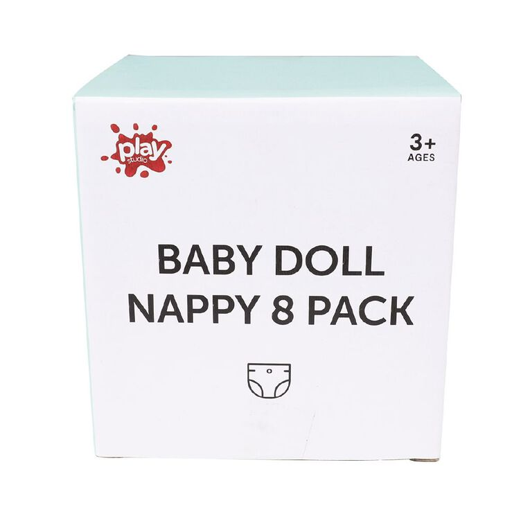 Play Studio Baby Doll Nappy 8 Pack, , hi-res