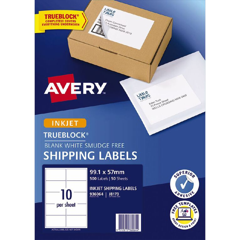 Avery Shipping Labels with Trueblock White 500 Labels, , hi-res