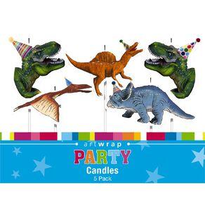Artwrap Dinosaur Pick Candles 5 Pack