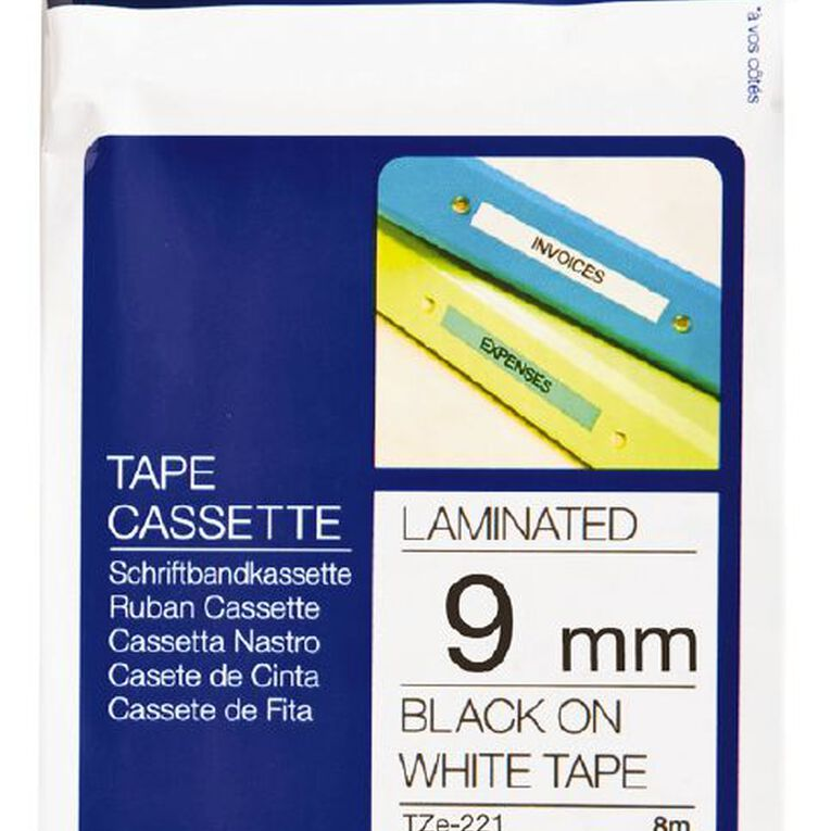Brother P-Touch Tape Tze-221 9mm 8m Black On, , hi-res