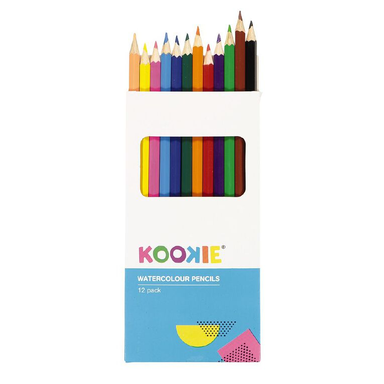 Kookie Watercolour Pencils Multi-Coloured 12 Pack, , hi-res