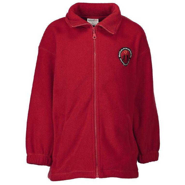 Schooltex Waltham School Zip Polar Fleece Jacket with Embroidery, Red, hi-res