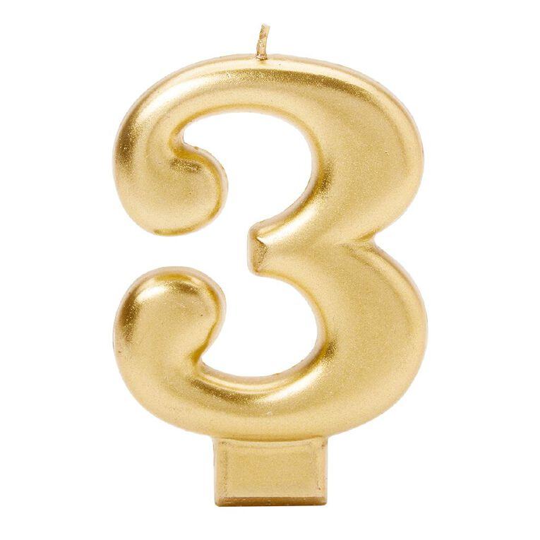 Candle Metallic Numeral #3 Gold, , hi-res