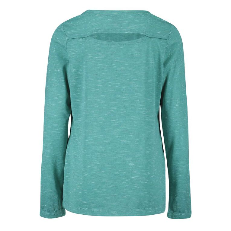 Active Intent Girls' Long Sleeve Back Cut Tee, Green Mid, hi-res image number null