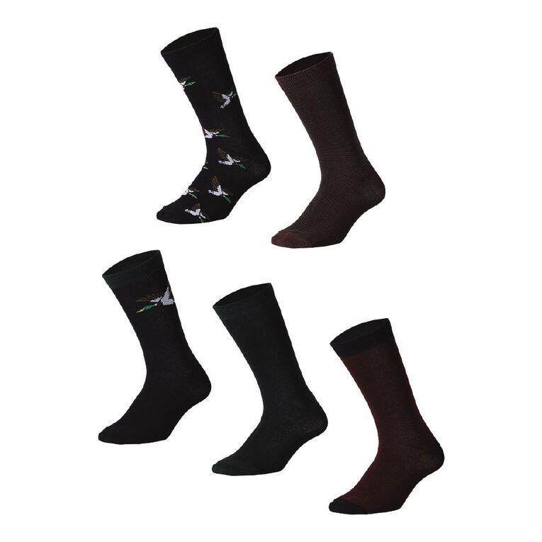 H&H Men's Business Crew Socks 5 Pack, Black/Forest, hi-res image number null