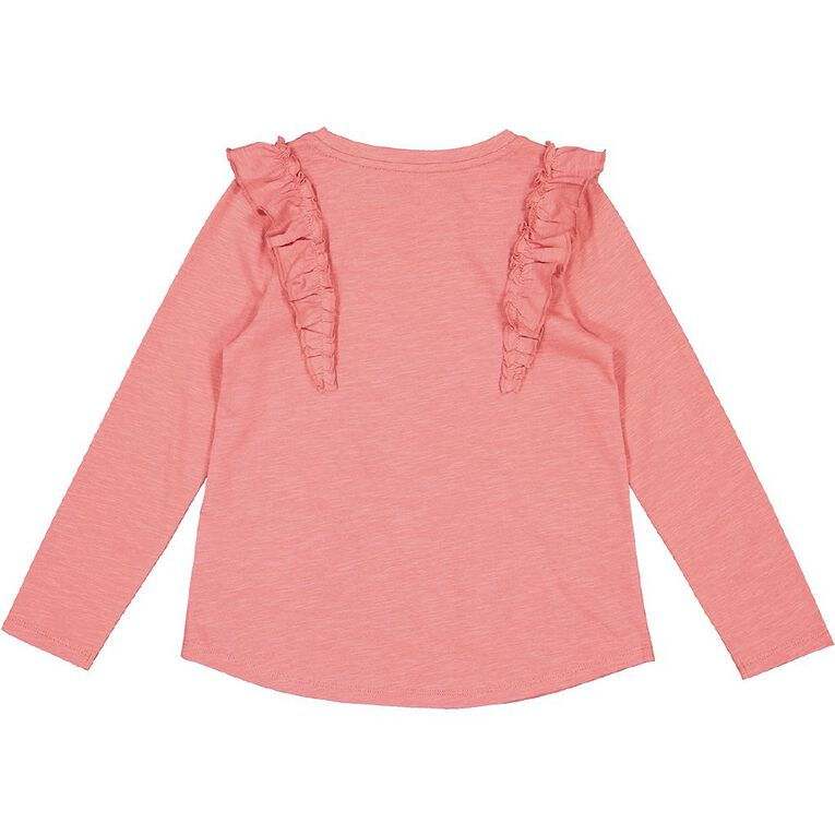 Young Original Long Sleeve Frill Front Tee, Pink Mid, hi-res