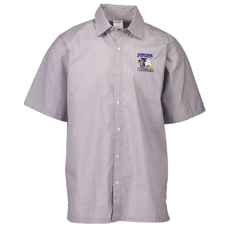 Schooltex James Cook Short Sleeve Shirt with Embroidery, Grey, hi-res