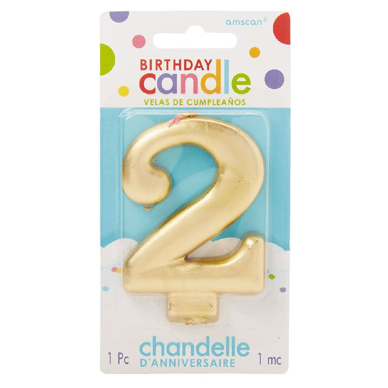 Candle Metallic Numeral #2 Gold, , hi-res