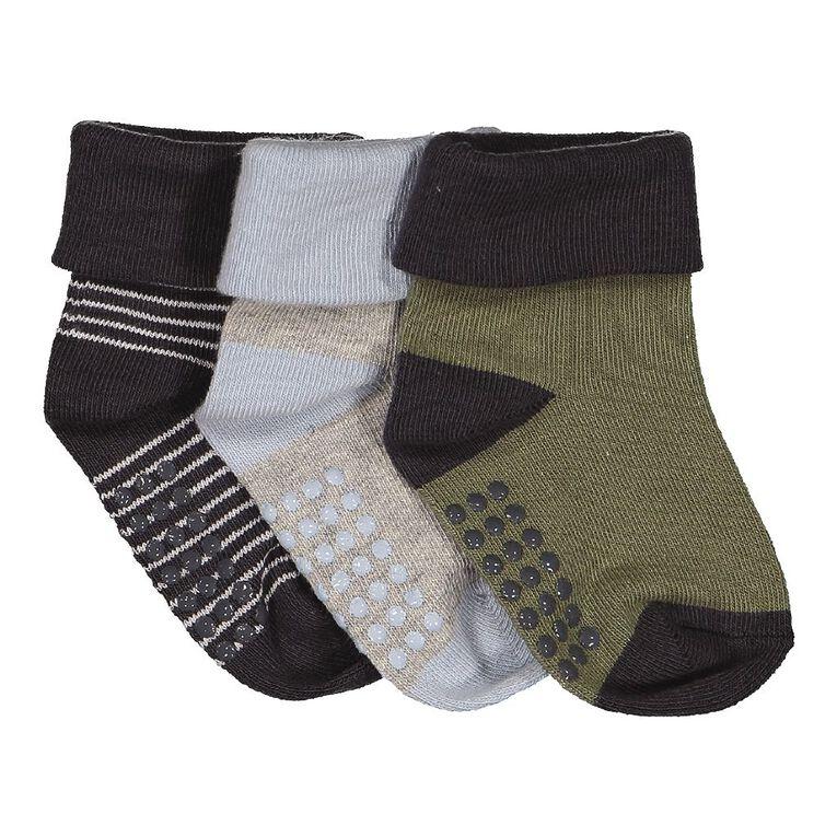 H&H Infants' Turn Top Bootie Socks 3 Pack, Khaki, hi-res