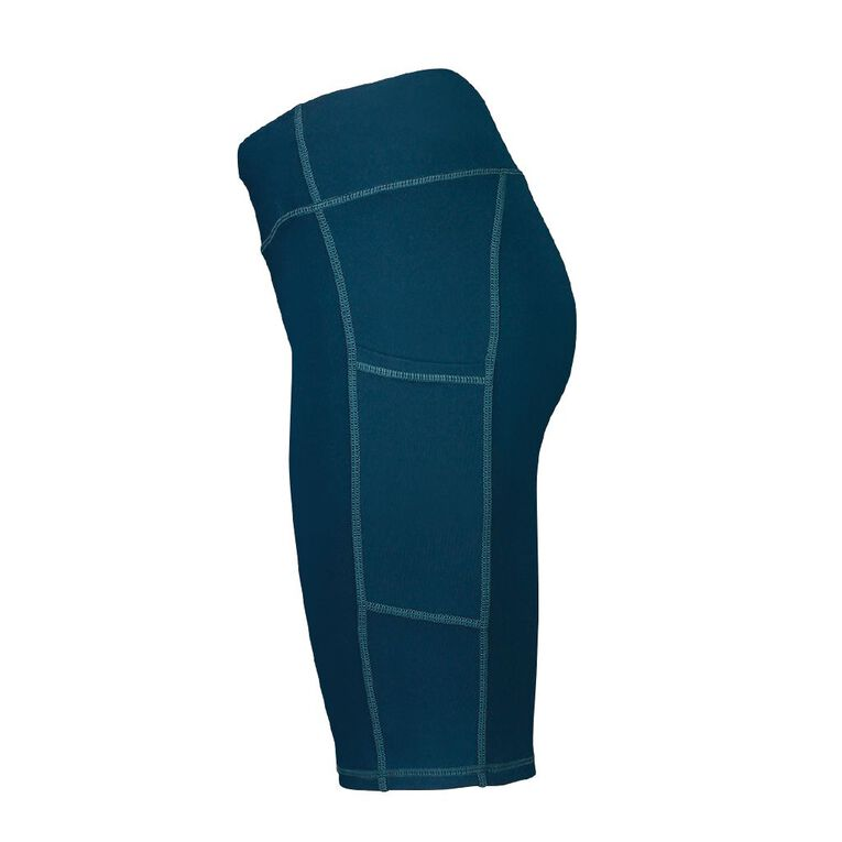Active Intent Women's Long Length Pocket Bike Shorts, Blue Dark, hi-res