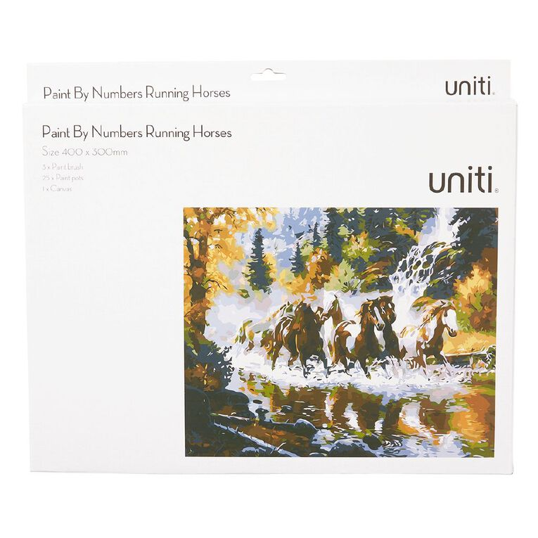 Uniti Paint By Numbers Running Horses 400mm x 300mm, , hi-res
