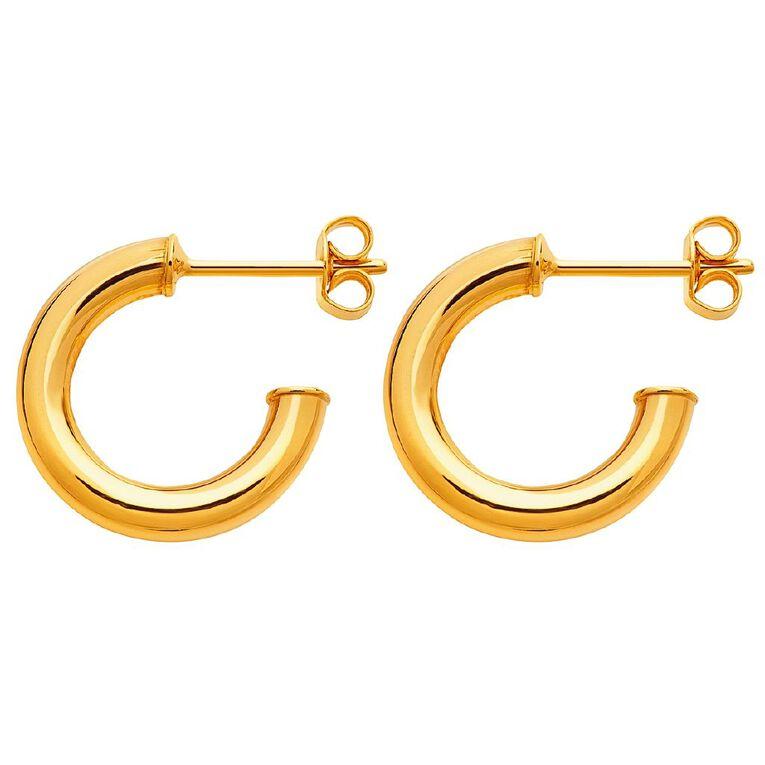 9ct Gold Stud Hoop Earrings, , hi-res