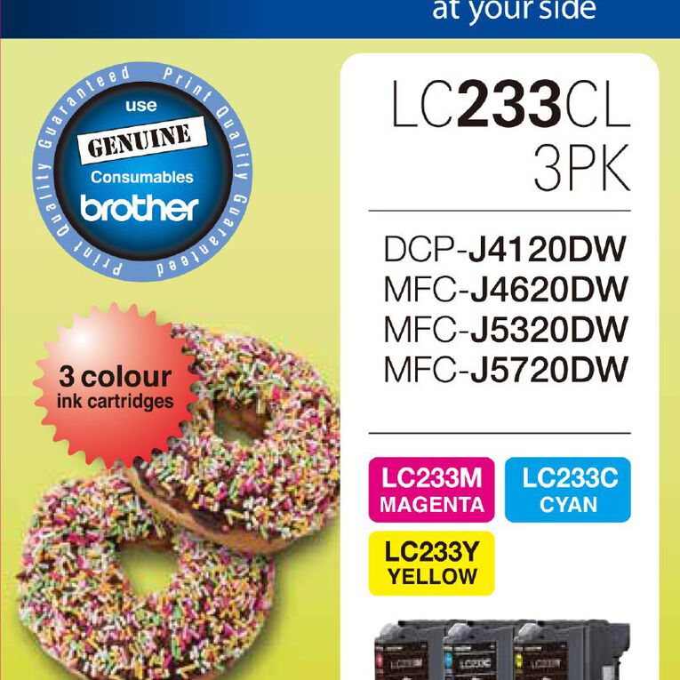 Brother Ink LC233 Colour 3 Pack (550 pages), , hi-res