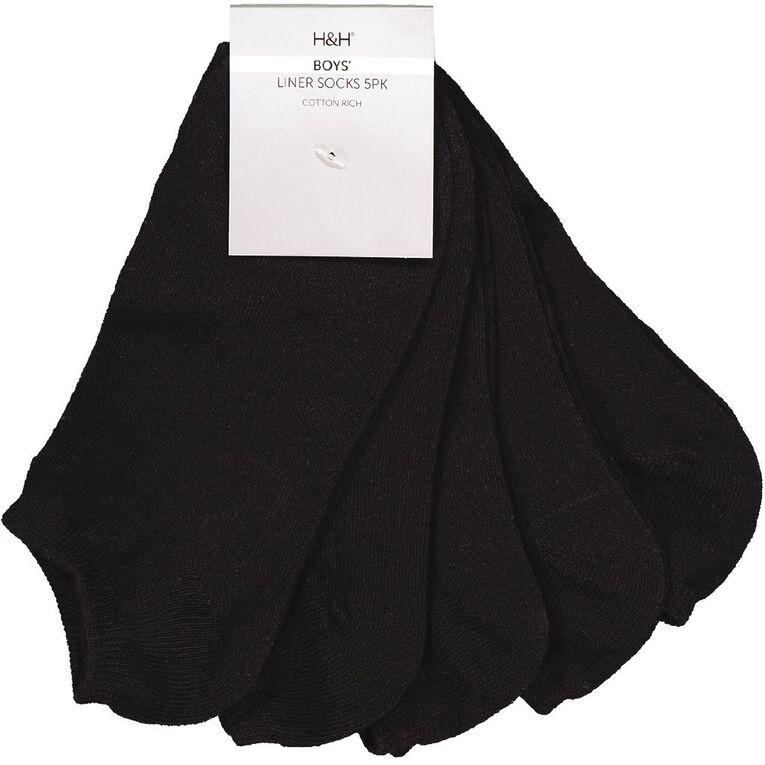 H&H Essentials Plain Liner 5 Pack, Black, hi-res