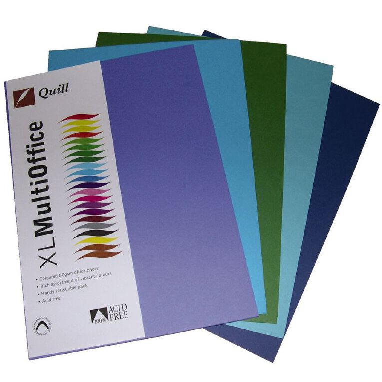 Quill Coloured Paper 80gsm 100 Pack Cold A4, , hi-res