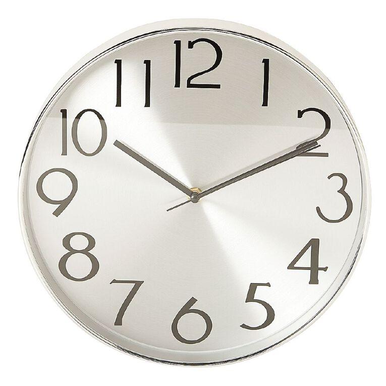 Living & Co Aluminium Wall Clock 30.5cm Silver, , hi-res