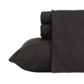 Living & Co Sheet Set Polar Flannel Plain Dye Black