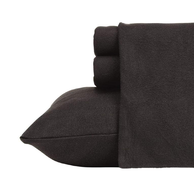 Living & Co Sheet Set Polar Flannel Plain Dye Black Single, Black, hi-res